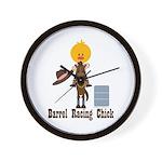 Barrel Racing Chick Wall Clock