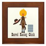 Barrel Racing Chick Framed Tile