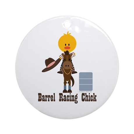 Barrel Racing Chick Ornament (Round)