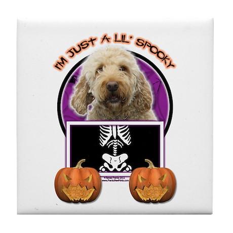 Just a Lil Spooky GoldenDoodle Tile Coaster