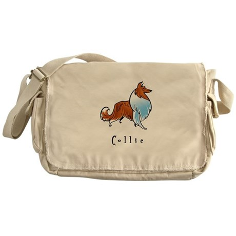 Collie Illustration Messenger Bag