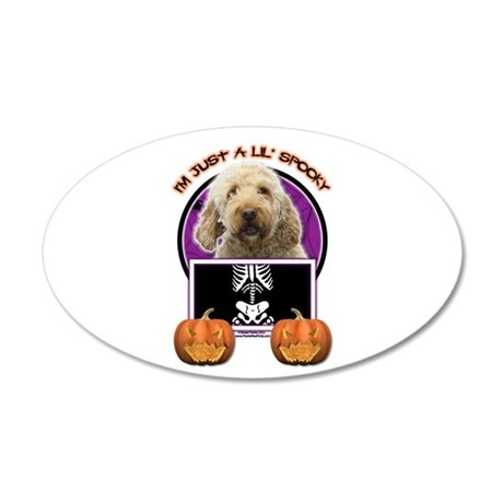 Just a Lil Spooky GoldenDoodle 22x14 Oval Wall Pee