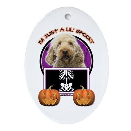 Just a Lil Spooky GoldenDoodle Ornament (Oval)