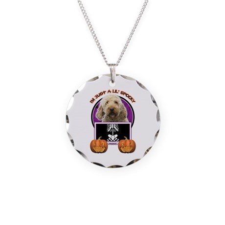 Just a Lil Spooky GoldenDoodle Necklace Circle Cha