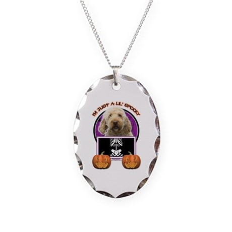 Just a Lil Spooky GoldenDoodle Necklace Oval Charm