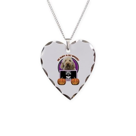 Just a Lil Spooky GoldenDoodle Necklace Heart Char