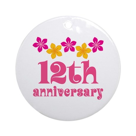 12th Anniversary Tropical Gift Ornament (Round) by ...