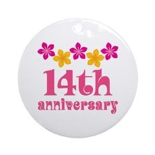 14th Anniversary Tropical Gift Ornament (Round)
