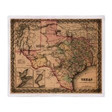 1855 map of Texas Throw Blanket