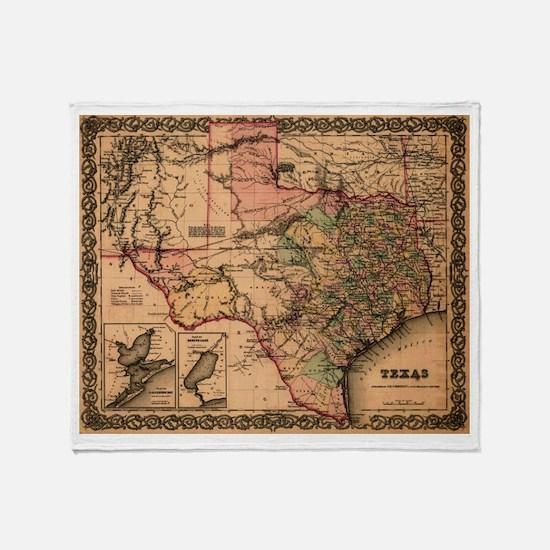 1855 map of Texas Throw Blanket
