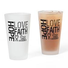 Brain Cancer Faith Drinking Glass