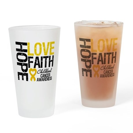 Childhood Cancer Faith Drinking Glass