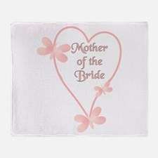 Mother Of The Bride Pink Hear Throw Blanket