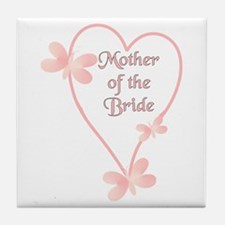 Mother Of The Bride Pink Hear Tile Coaster