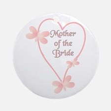 Mother Of The Bride Pink Hear Ornament (Round)