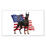 American Flag Doberman Sticker (Rectangle 50 pk)