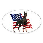American Flag Doberman Sticker (Oval 10 pk)