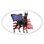 American Flag Doberman Sticker (Oval)