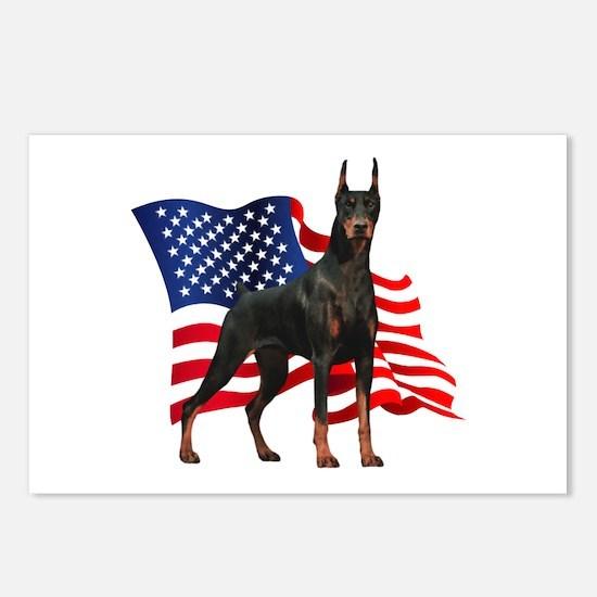 American Flag Doberman Postcards (Package of 8)