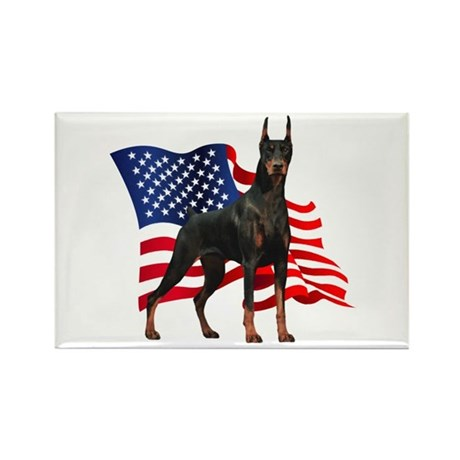 American Flag Doberman Rectangle Magnet (100 pack)