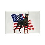 American Flag Doberman Rectangle Magnet (10 pack)