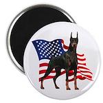 American Flag Doberman Magnet