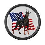 American Flag Doberman Large Wall Clock