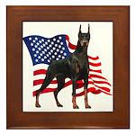 American Flag Doberman Framed Tile