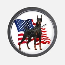 American Flag Doberman Wall Clock