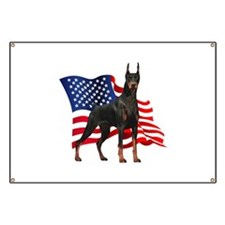 American Flag Doberman Banner