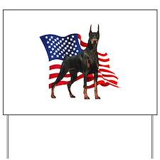American Flag Doberman Yard Sign