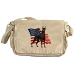 American Flag Doberman Messenger Bag