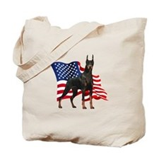 American Flag Doberman Tote Bag