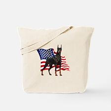 American Flag Doberman Tote Bag
