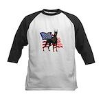 American Flag Doberman Kids Baseball Jersey