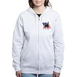 American Flag Doberman Women's Zip Hoodie
