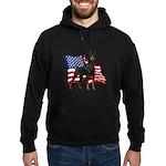 American Flag Doberman Hoodie (dark)