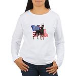 American Flag Doberman Women's Long Sleeve T-Shirt