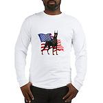 American Flag Doberman Long Sleeve T-Shirt