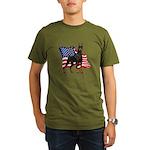American Flag Doberman Organic Men's T-Shirt (dark