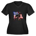 American Flag Doberman Women's Plus Size V-Neck Da