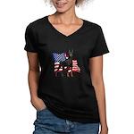 American Flag Doberman Women's V-Neck Dark T-Shirt
