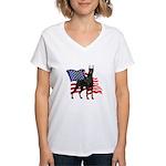 American Flag Doberman Women's V-Neck T-Shirt