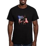 American Flag Doberman Men's Fitted T-Shirt (dark)