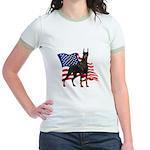 American Flag Doberman Jr. Ringer T-Shirt