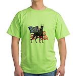 American Flag Doberman Green T-Shirt