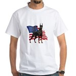 American Flag Doberman White T-Shirt