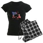 American Flag Doberman Women's Dark Pajamas
