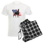 American Flag Doberman Men's Light Pajamas