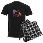 American Flag Doberman Men's Dark Pajamas